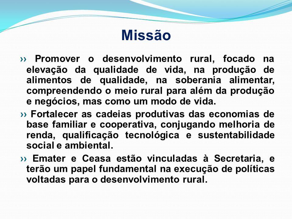 Missão Promover o desenvolvimento rural, focado na elevação da qualidade de vida, na produção de alimentos de qualidade, na soberania alimentar, compr