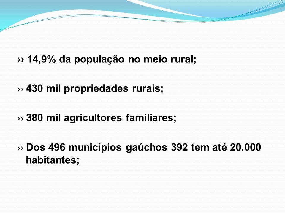 14,9% da população no meio rural; 430 mil propriedades rurais; 380 mil agricultores familiares; Dos 496 municípios gaúchos 392 tem até 20.000 habitant