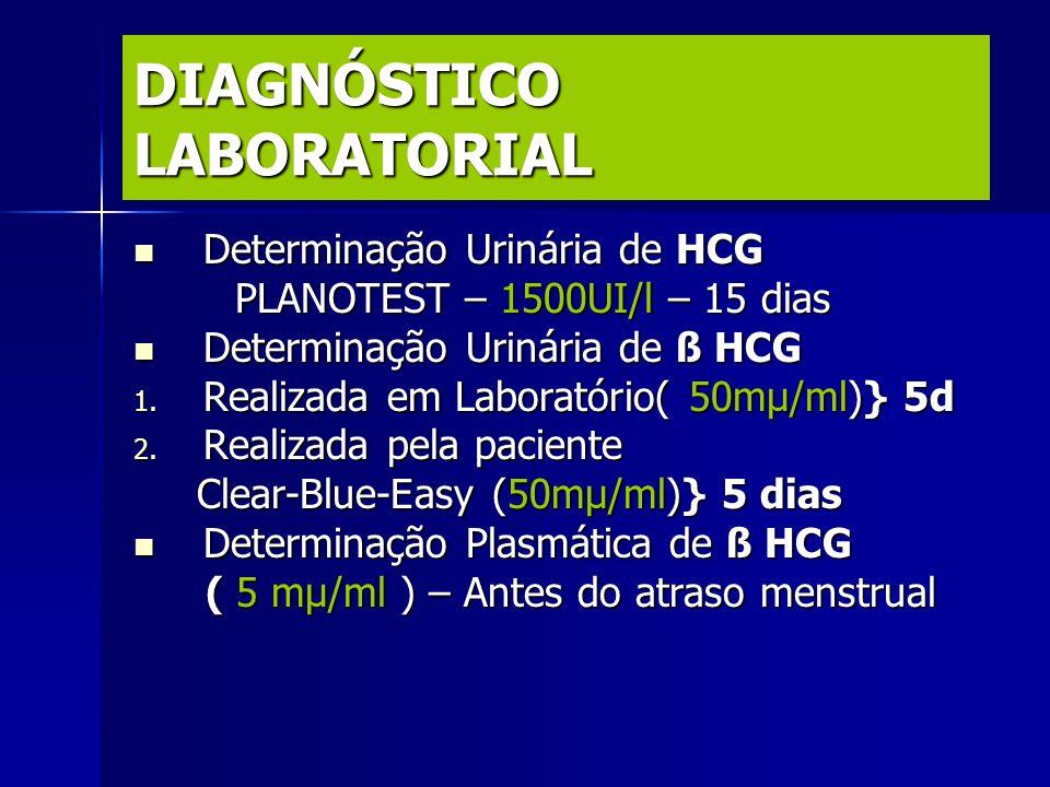 DIAGNÓSTICO LABORATORIAL Determinação Urinária de HCG Determinação Urinária de HCG PLANOTEST – 1500UI/l – 15 dias PLANOTEST – 1500UI/l – 15 dias Deter