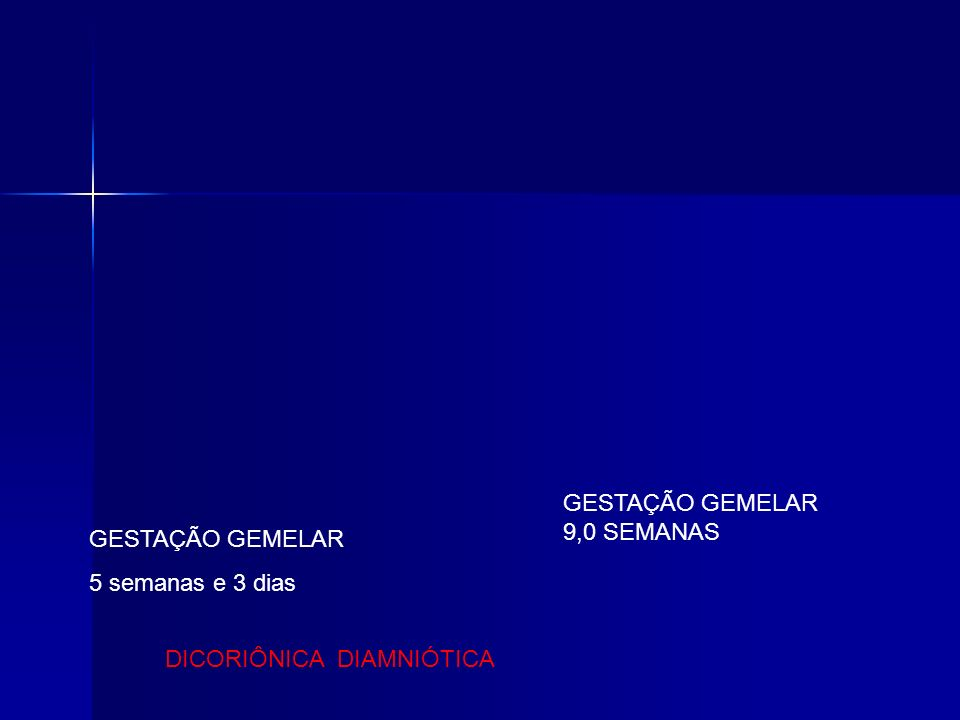 GESTAÇÃO GEMELAR 5 semanas e 3 dias GESTAÇÃO GEMELAR 9,0 SEMANAS DICORIÔNICA DIAMNIÓTICA