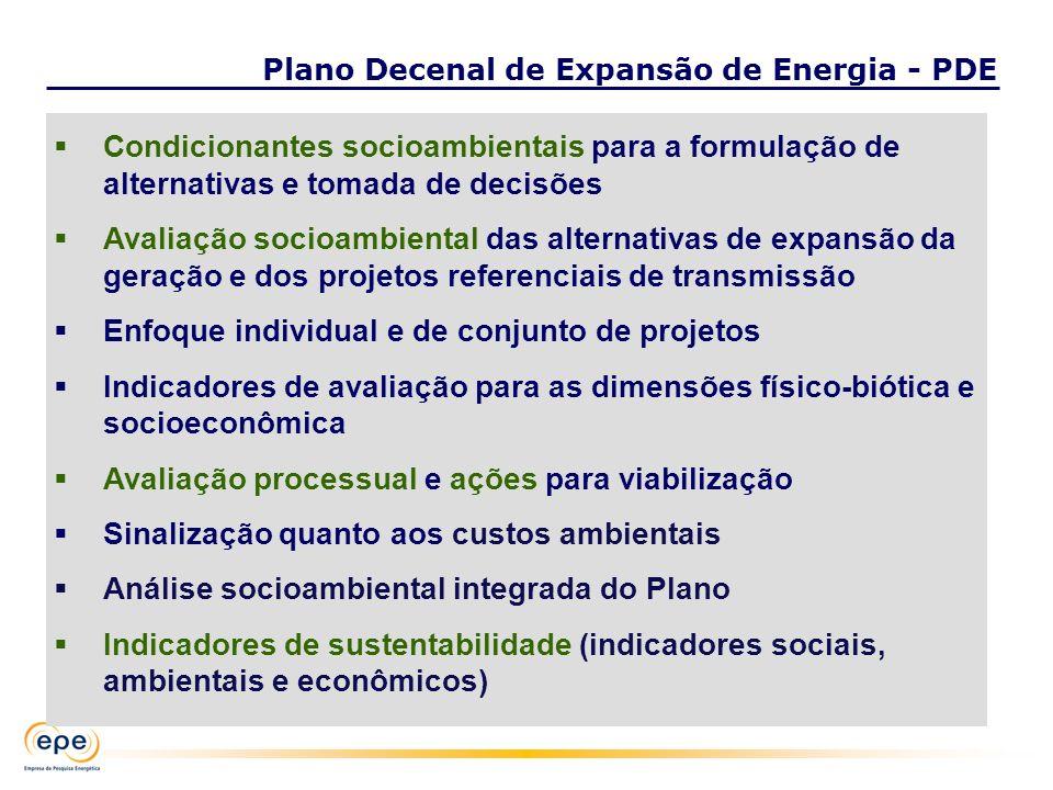 Condicionantes socioambientais para a formulação de alternativas e tomada de decisões Avaliação socioambiental das alternativas de expansão da geração