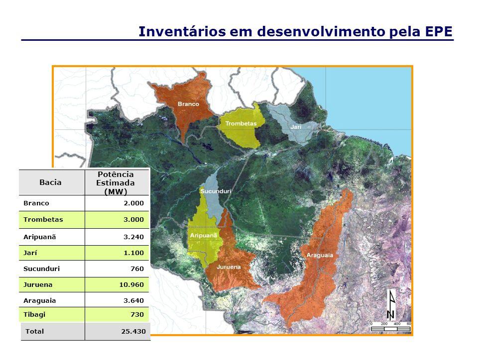 Rio Branco Rio Jari Rio Aripuanã Rio Trombetas Rio Juruena Rio Sucunduri Inventários em desenvolvimento pela EPE Rio Araguaia 25.430Total 10.960Juruen