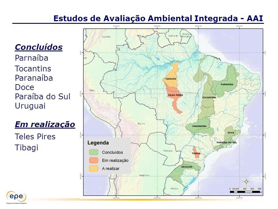 Concluídos Parnaíba Tocantins Paranaíba Doce Paraíba do Sul Uruguai Em realização Teles Pires Tibagi