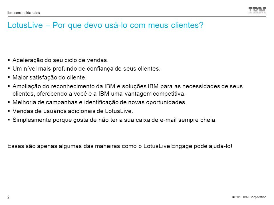 ibm.com inside sales 2 LotusLive – Por que devo usá-lo com meus clientes.