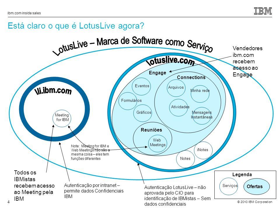© 2010 IBM Corporation ibm.com inside sales 4 Está claro o que é LotusLive agora.
