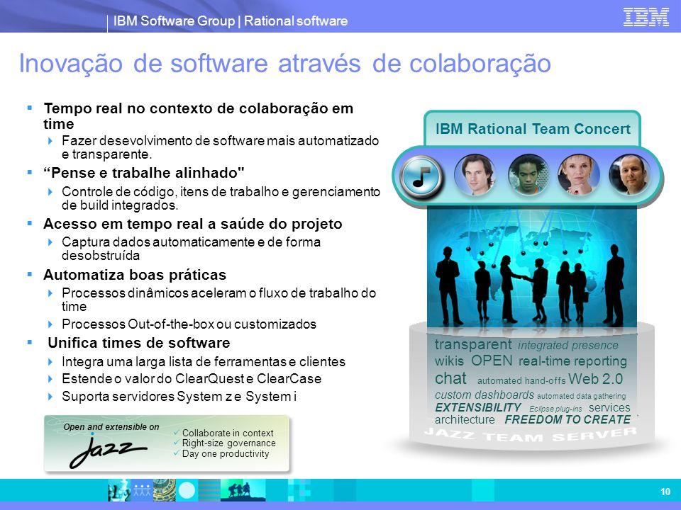 IBM Software Group | Rational software 10 Inovação de software através de colaboração Tempo real no contexto de colaboração em time Fazer desevolvimen