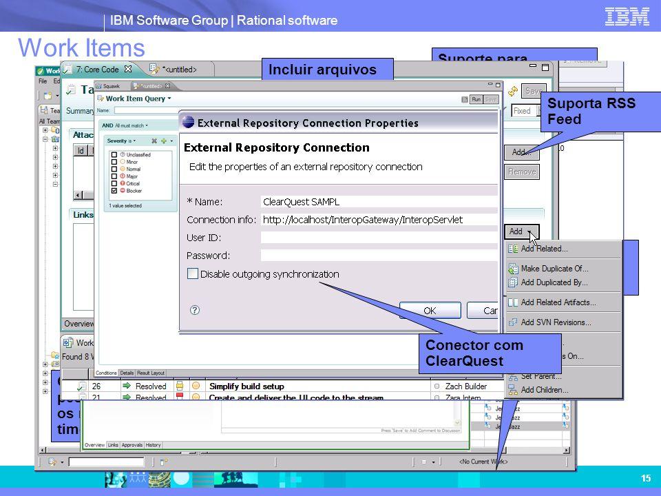 IBM Software Group | Rational software 15 Visualização dos resultados de uma pesquisa Cria pesquisas individuais ou compartilhadas Compartilha pesquis