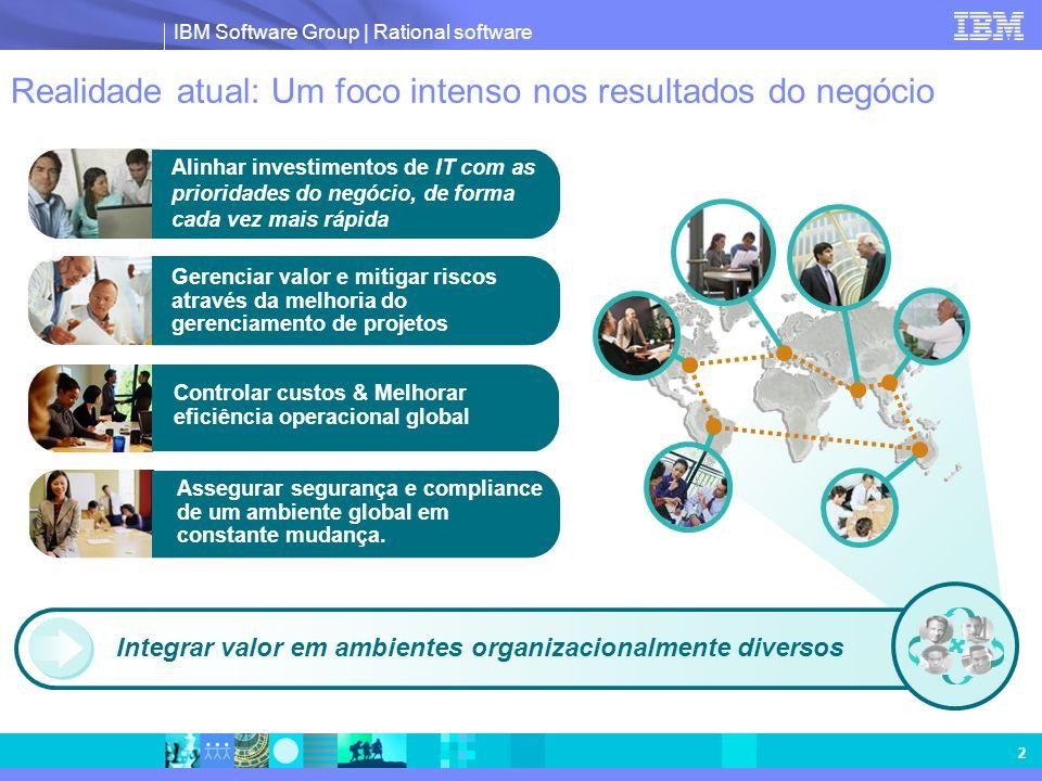 IBM Software Group | Rational software 2 Realidade atual: Um foco intenso nos resultados do negócio Integrar valor em ambientes organizacionalmente di