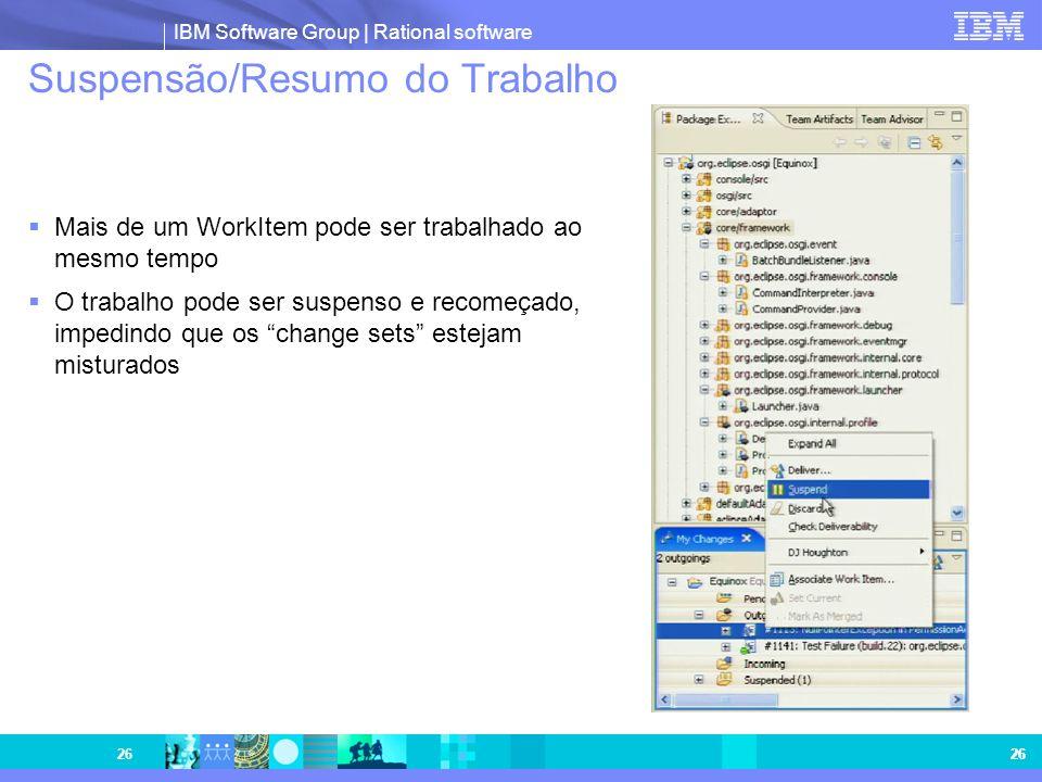 IBM Software Group | Rational software 26 Suspensão/Resumo do Trabalho Mais de um WorkItem pode ser trabalhado ao mesmo tempo O trabalho pode ser susp