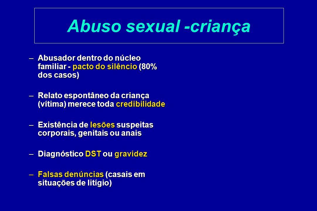 Abuso sexual -criança –Abusador dentro do núcleo familiar - pacto do silêncio (80% dos casos) –Relato espontâneo da criança (vítima) merece toda credi
