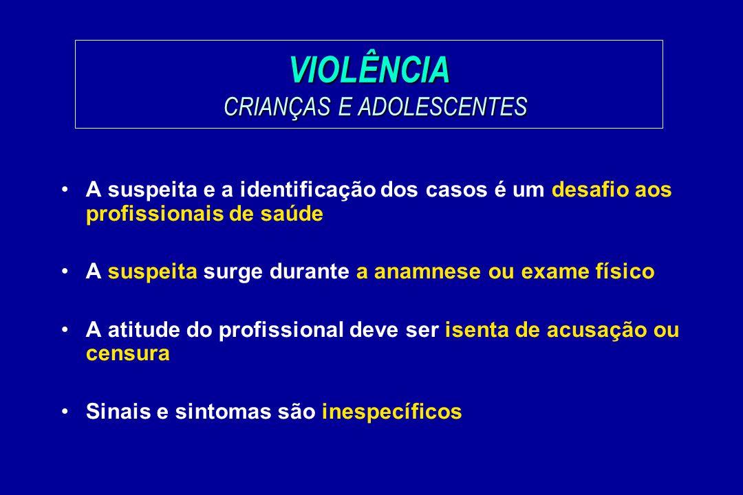 VIOLÊNCIA CRIANÇAS E ADOLESCENTES A suspeita e a identificação dos casos é um desafio aos profissionais de saúde A suspeita surge durante a anamnese o