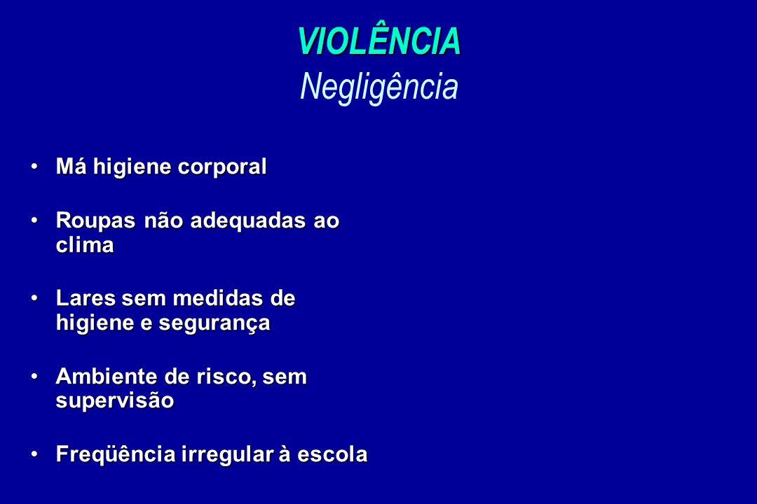 VIOLÊNCIA VIOLÊNCIA Negligência Má higiene corporalMá higiene corporal Roupas não adequadas ao climaRoupas não adequadas ao clima Lares sem medidas de