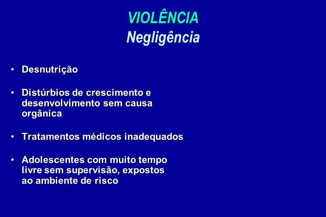 VIOLÊNCIA VIOLÊNCIA Negligência DesnutriçãoDesnutrição Distúrbios de crescimento e desenvolvimento sem causa orgânicaDistúrbios de crescimento e desen