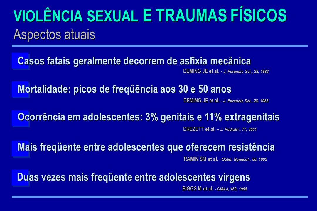 VIOLÊNCIA SEXUAL E TRAUMAS FÍSICOS Aspectos atuais Mais freqüente entre adolescentes que oferecem resistência RAMIN SM et al. - Obtet. Gynecol., 80, 1