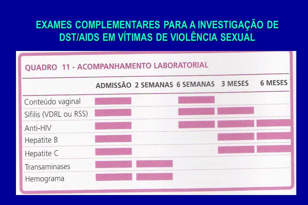EXAMES COMPLEMENTARES PARA A INVESTIGAÇÃO DE DST/AIDS EM VÍTIMAS DE VIOLÊNCIA SEXUAL