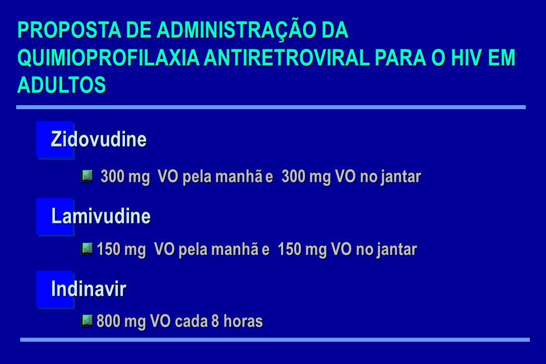 PROPOSTA DE ADMINISTRAÇÃO DA QUIMIOPROFILAXIA ANTIRETROVIRAL PARA O HIV EM ADULTOS Zidovudine Lamivudine Indinavir 300 mg VO pela manhã e 300 mg VO no