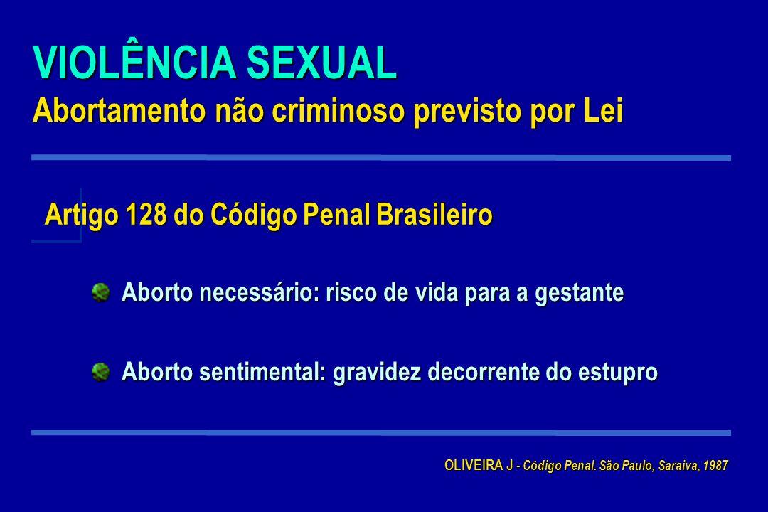 VIOLÊNCIA SEXUAL Abortamento não criminoso previsto por Lei Artigo 128 do Código Penal Brasileiro Aborto necessário: risco de vida para a gestante Abo