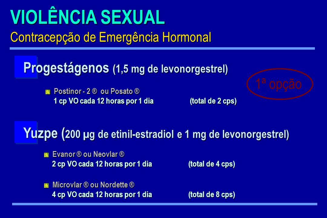 VIOLÊNCIA SEXUAL Contracepção de Emergência Hormonal Progestágenos (1,5 mg de levonorgestrel) Postinor - 2 ® ou Posato ® Postinor - 2 ® ou Posato ® 1