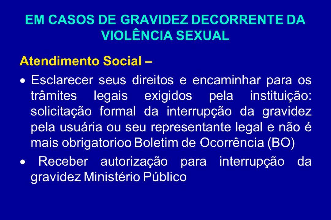 EM CASOS DE GRAVIDEZ DECORRENTE DA VIOLÊNCIA SEXUAL Atendimento Social – Esclarecer seus direitos e encaminhar para os trâmites legais exigidos pela i