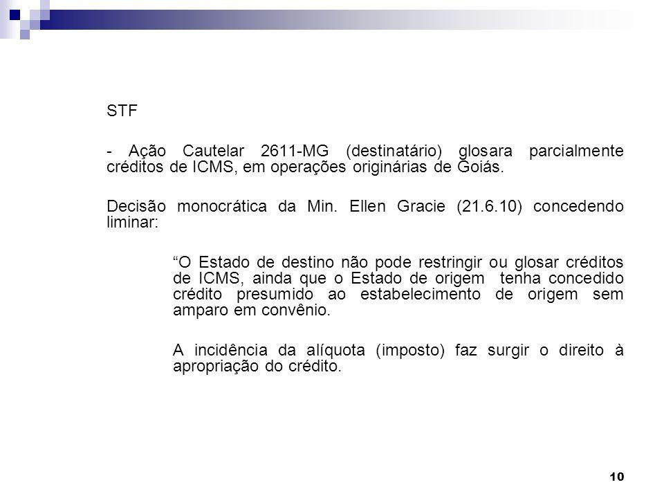 10 STF - Ação Cautelar 2611-MG (destinatário) glosara parcialmente créditos de ICMS, em operações originárias de Goiás. Decisão monocrática da Min. El
