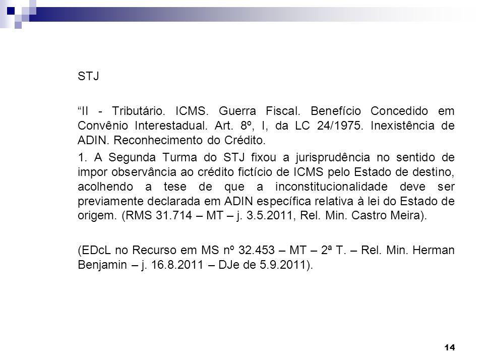 14 STJ II - Tributário. ICMS. Guerra Fiscal. Benefício Concedido em Convênio Interestadual. Art. 8º, I, da LC 24/1975. Inexistência de ADIN. Reconheci
