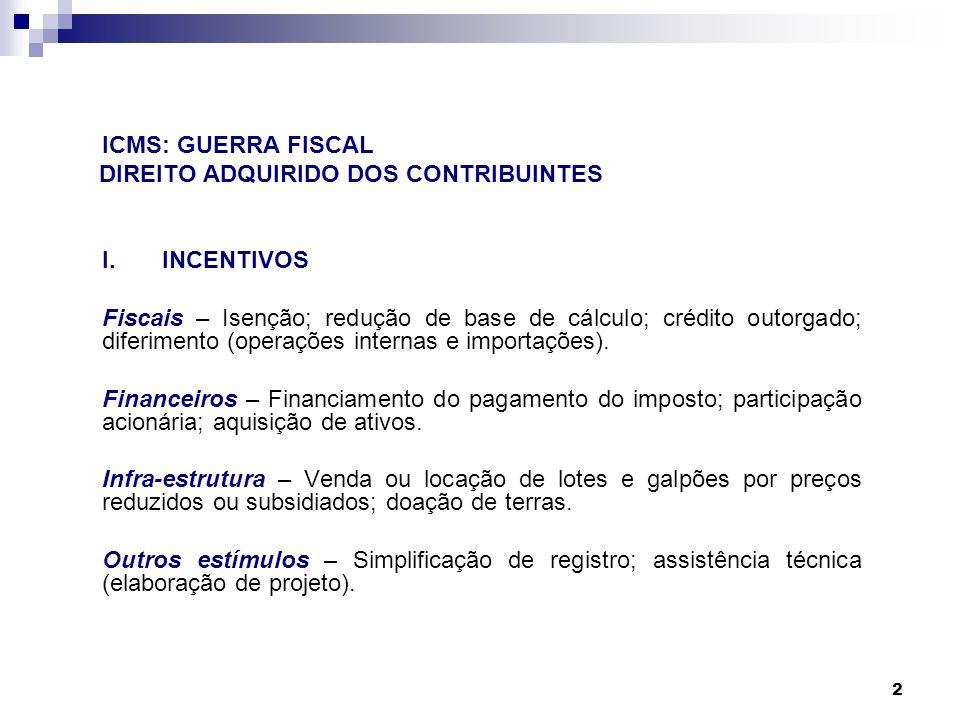 2 ICMS: GUERRA FISCAL DIREITO ADQUIRIDO DOS CONTRIBUINTES I.INCENTIVOS Fiscais – Isenção; redução de base de cálculo; crédito outorgado; diferimento (