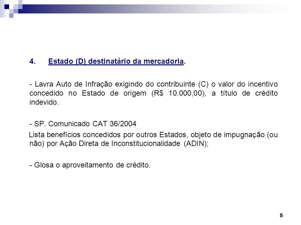 5 4.Estado (D) destinatário da mercadoria. - Lavra Auto de Infração exigindo do contribuinte (C) o valor do incentivo concedido no Estado de origem (R