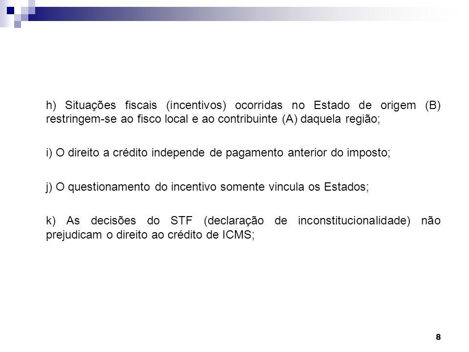 8 h) Situações fiscais (incentivos) ocorridas no Estado de origem (B) restringem-se ao fisco local e ao contribuinte (A) daquela região; i) O direito