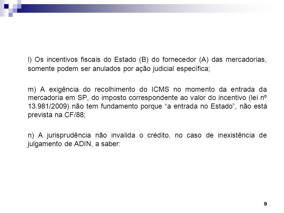 10 STF - Ação Cautelar 2611-MG (destinatário) glosara parcialmente créditos de ICMS, em operações originárias de Goiás.