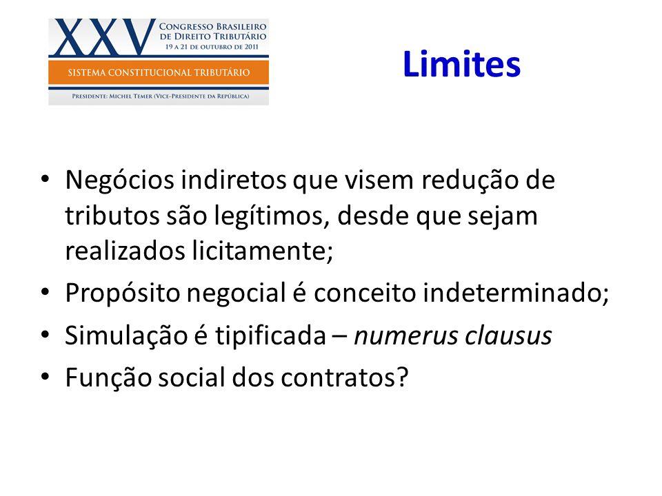 Limites Negócios indiretos que visem redução de tributos são legítimos, desde que sejam realizados licitamente; Propósito negocial é conceito indeterm