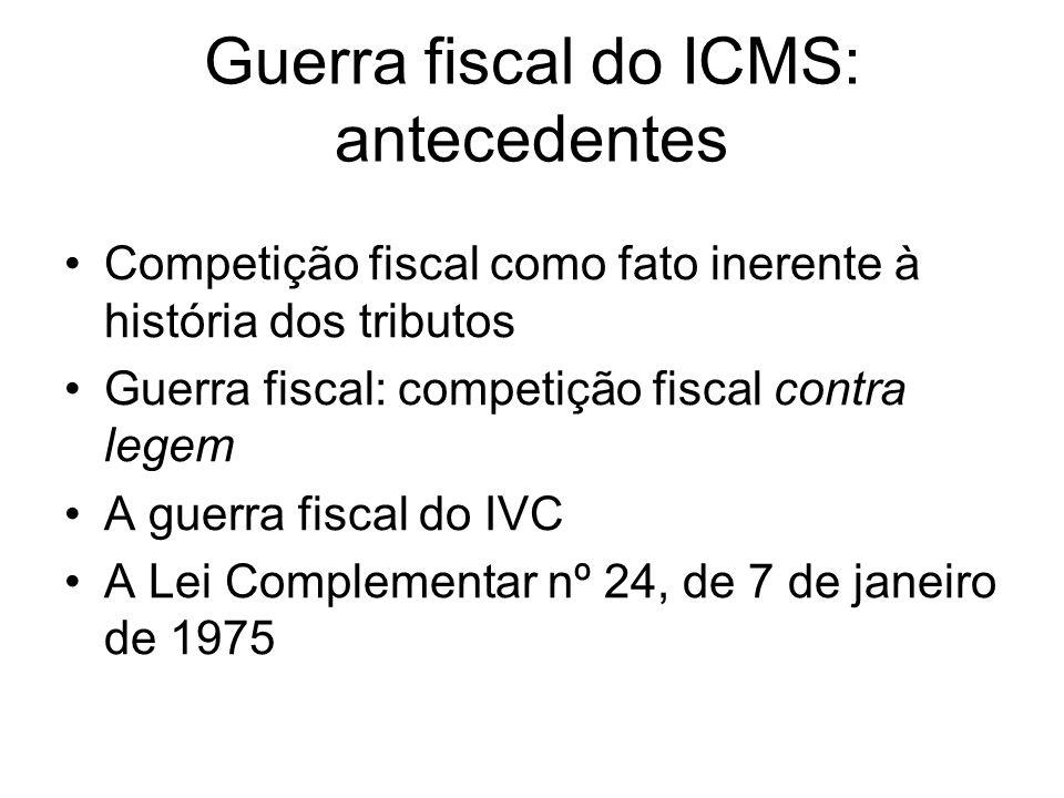 Guerra fiscal do ICMS: antecedentes Competição fiscal como fato inerente à história dos tributos Guerra fiscal: competição fiscal contra legem A guerr