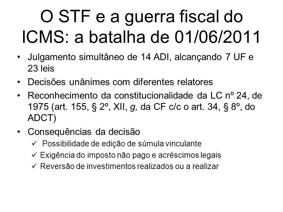 O STF e a guerra fiscal do ICMS: a batalha de 01/06/2011 Julgamento simultâneo de 14 ADI, alcançando 7 UF e 23 leis Decisões unânimes com diferentes r