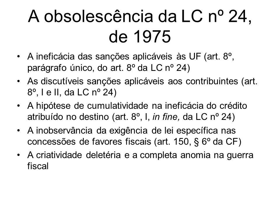 A obsolescência da LC nº 24, de 1975 A ineficácia das sanções aplicáveis às UF (art. 8º, parágrafo único, do art. 8º da LC nº 24) As discutíveis sançõ