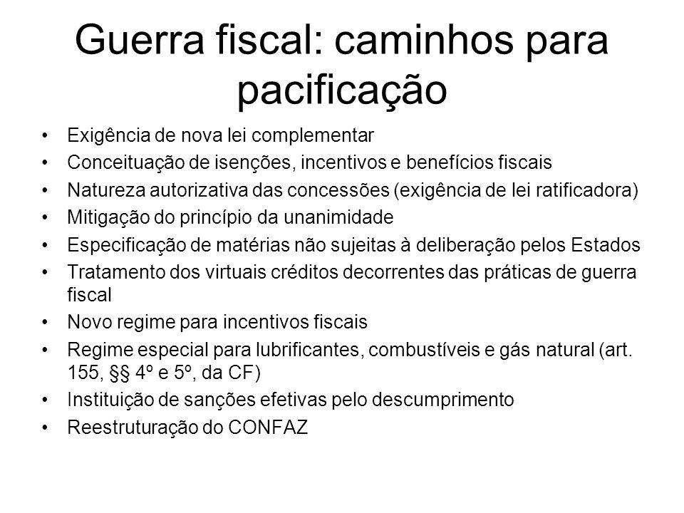 Guerra fiscal: caminhos para pacificação Exigência de nova lei complementar Conceituação de isenções, incentivos e benefícios fiscais Natureza autoriz