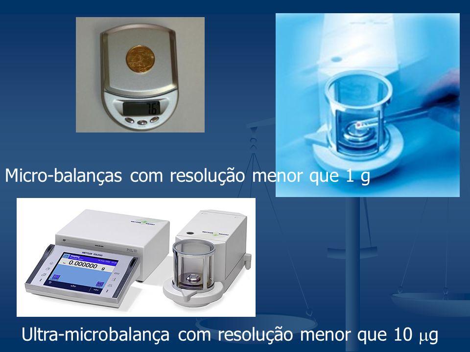 Micro-balanças com resolução menor que 1 g Ultra-microbalança com resolução menor que 10 g