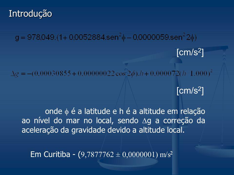 Introdução [cm/s 2 ] onde é a latitude e h é a altitude em relação ao nível do mar no local, sendo g a correção da aceleração da gravidade devido a altitude local.