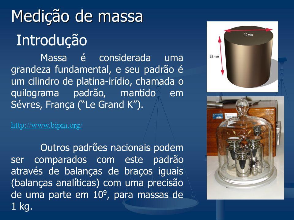 Medição de massa Introdução Massa é considerada uma grandeza fundamental, e seu padrão é um cilindro de platina-irídio, chamada o quilograma padrão, mantido em Sévres, França (Le Grand K).