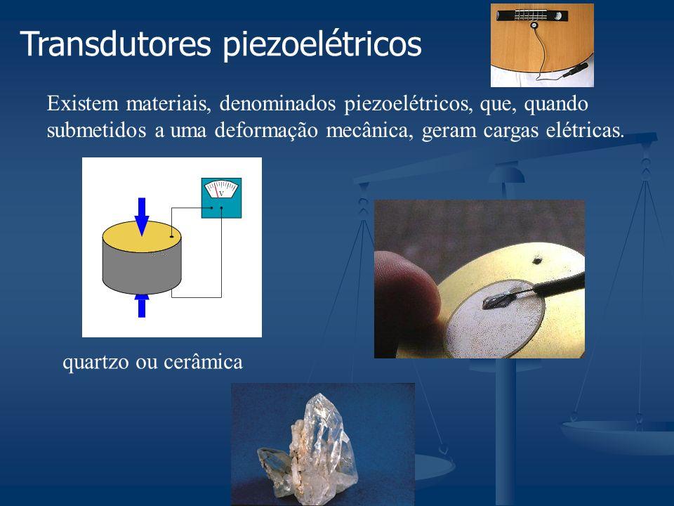 Transdutores piezoelétricos Existem materiais, denominados piezoelétricos, que, quando submetidos a uma deformação mecânica, geram cargas elétricas.