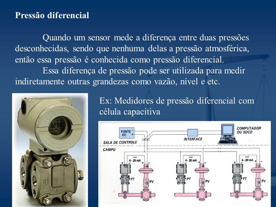 Pressão diferencial Quando um sensor mede a diferença entre duas pressões desconhecidas, sendo que nenhuma delas a pressão atmosférica, então essa pressão é conhecida como pressão diferencial.