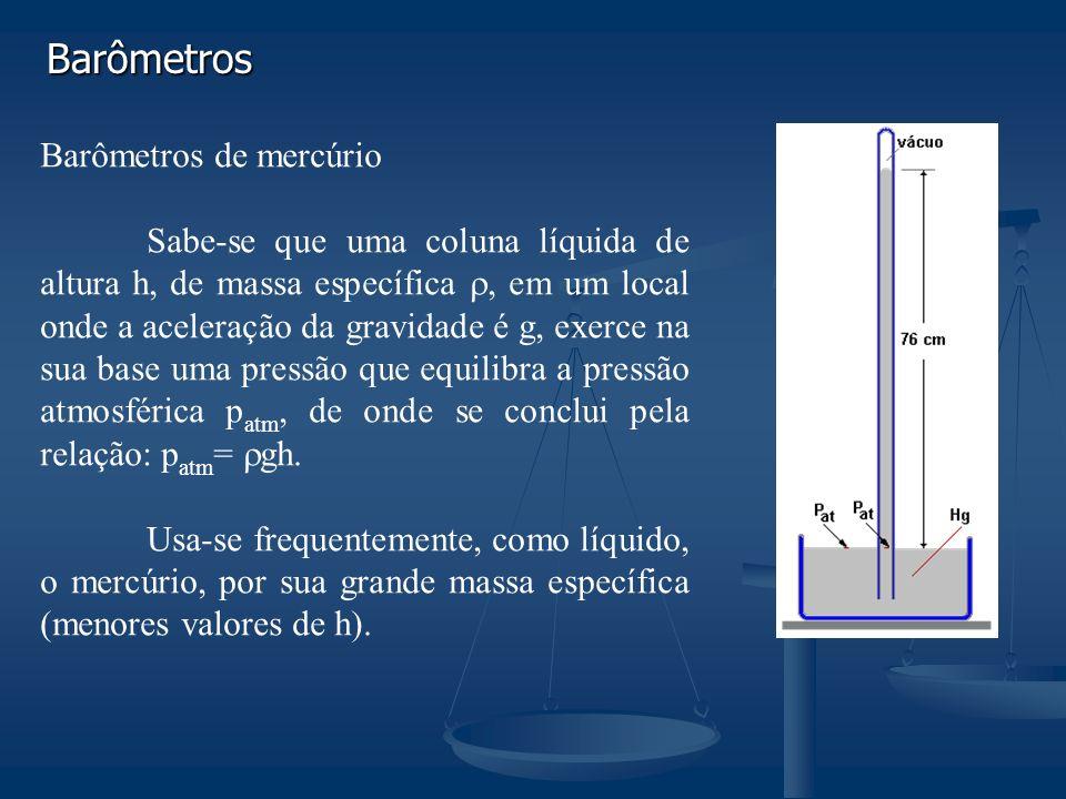 Barômetros Barômetros de mercúrio Sabe-se que uma coluna líquida de altura h, de massa específica, em um local onde a aceleração da gravidade é g, exerce na sua base uma pressão que equilibra a pressão atmosférica p atm, de onde se conclui pela relação: p atm = gh.