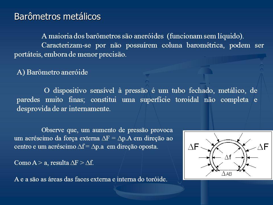 Barômetros metálicos A maioria dos barômetros são aneróides (funcionam sem líquido).