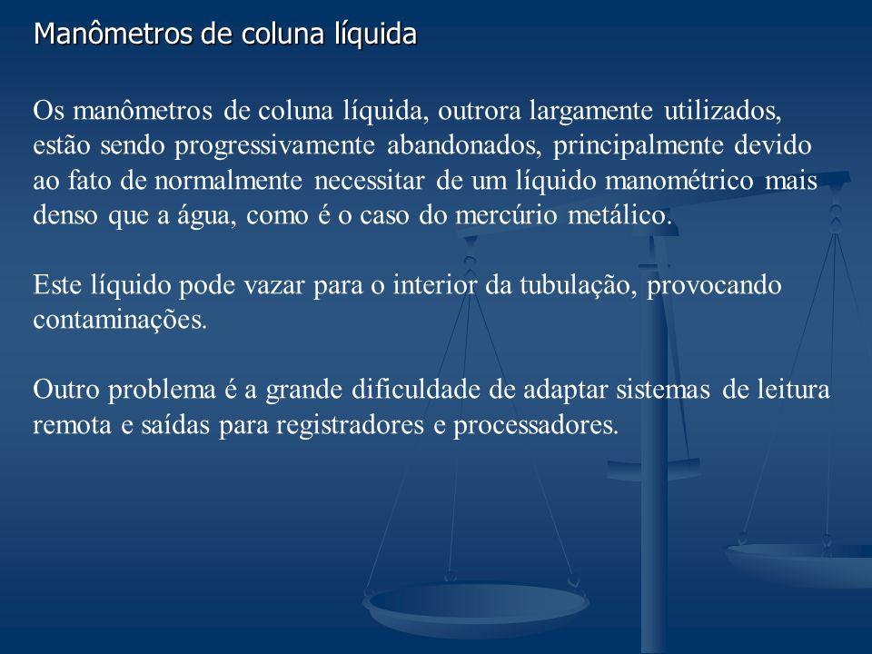 Manômetros de coluna líquida Os manômetros de coluna líquida, outrora largamente utilizados, estão sendo progressivamente abandonados, principalmente devido ao fato de normalmente necessitar de um líquido manométrico mais denso que a água, como é o caso do mercúrio metálico.