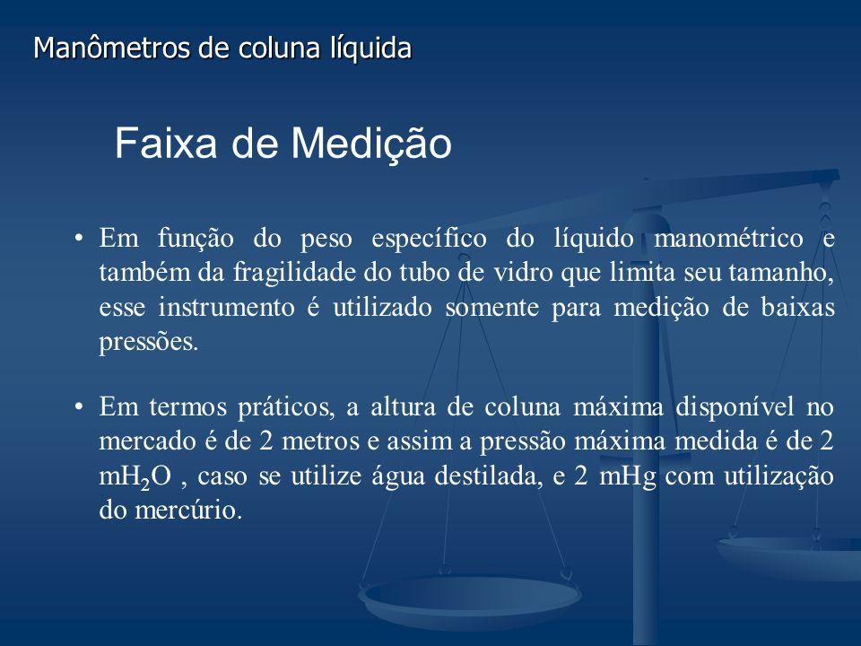 Faixa de Medição Em função do peso específico do líquido manométrico e também da fragilidade do tubo de vidro que limita seu tamanho, esse instrumento é utilizado somente para medição de baixas pressões.
