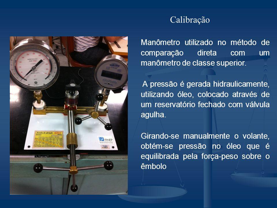Manômetro utilizado no método de comparação direta com um manômetro de classe superior.