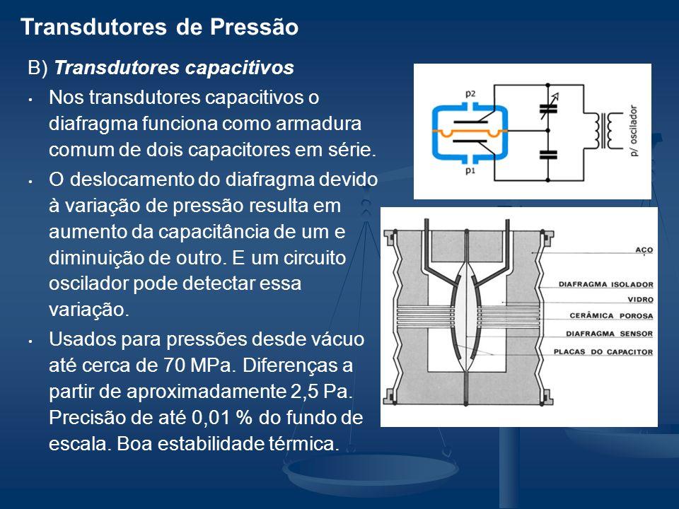 Transdutores de Pressão B) Transdutores capacitivos Nos transdutores capacitivos o diafragma funciona como armadura comum de dois capacitores em série.