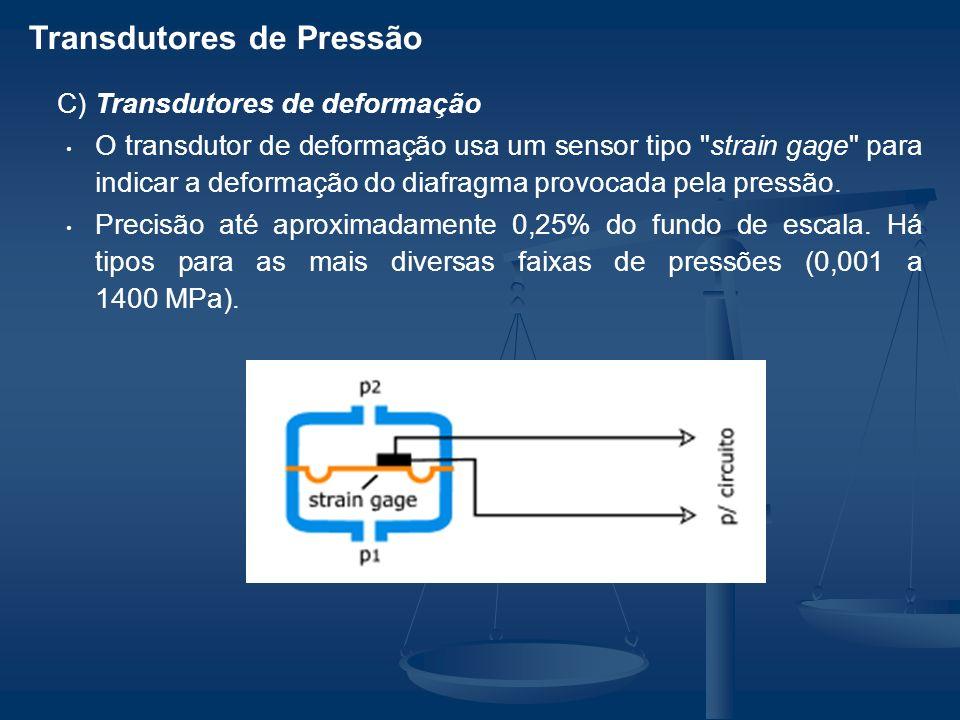 C) Transdutores de deformação O transdutor de deformação usa um sensor tipo strain gage para indicar a deformação do diafragma provocada pela pressão.