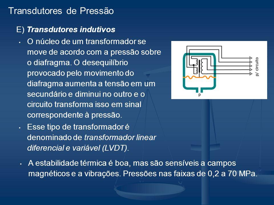 E) Transdutores indutivos O núcleo de um transformador se move de acordo com a pressão sobre o diafragma.
