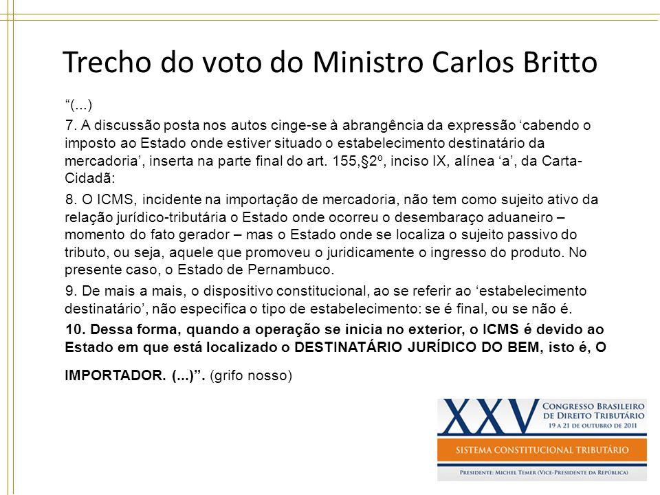 Trecho do voto do Ministro Carlos Britto (...) 7. A discussão posta nos autos cinge-se à abrangência da expressão cabendo o imposto ao Estado onde est