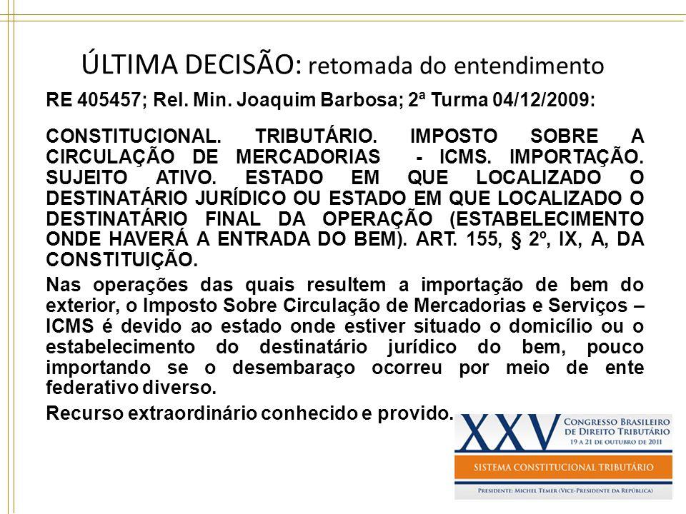 ÚLTIMA DECISÃO: retomada do entendimento RE 405457; Rel. Min. Joaquim Barbosa; 2ª Turma 04/12/2009: CONSTITUCIONAL. TRIBUTÁRIO. IMPOSTO SOBRE A CIRCUL