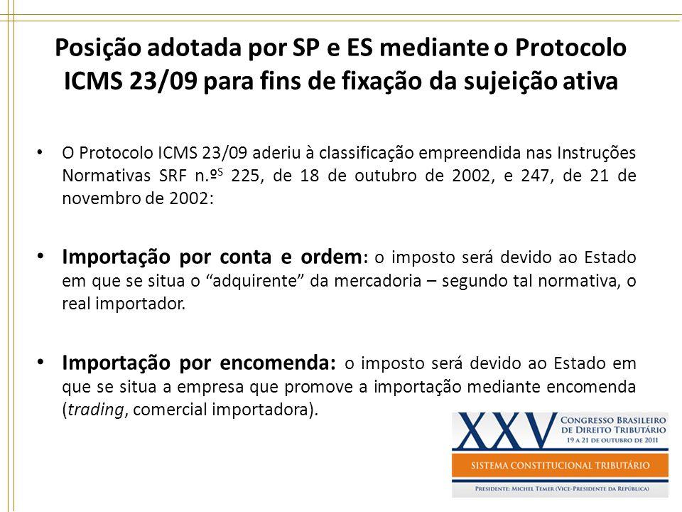Posição adotada por SP e ES mediante o Protocolo ICMS 23/09 para fins de fixação da sujeição ativa O Protocolo ICMS 23/09 aderiu à classificação empre